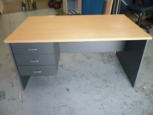 OFFICE 1500MM BEECH / IRONSTONE DESK WITH DRAWERS BRISBANE