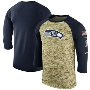 Seattle Seahawks Nike NFL Men's Salute To Service 3/4 Sleeve Raglan Shirt Small