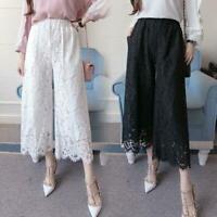 5XL Women Lace Wide Leg Casual Pants Loose High Waist Black White Fashion Summer