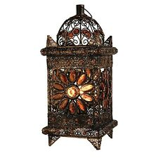 NEW LARGE MOROCCAN BRONZE TABLE LAMP LANTERN ASIAN LIGHT DESK BEDSIDE LOUNGE