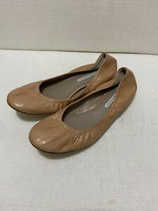 VERA WANG Lillian Crinkle Patent Leather Ballet Flats Nude Sz 8M/UK 6/Eu39/AU8