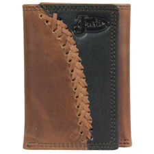 JUSTIN BOOTS  TRIFOLD 2 TONE Genuine  Leather Wallet 1920568W4