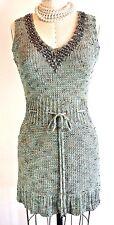 VERTIGO Green Sweater Vest Top Tunic Blouse Knit Beaded Tie V neck S-M  *1008