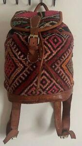 Leather backpack with vintage Berber carpet - brown