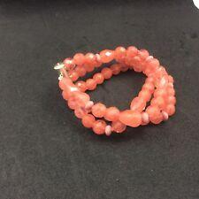 M & J Savitt 3 strand Cherry quartz and smokey topaz bracelet with slide clasp
