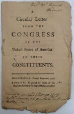 Circular Letter From Congress Of The United States To Their Constituents 1779