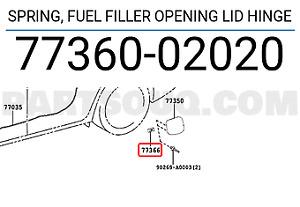 Toyota OEM Fuel Door Gas Cap Hatch Spring 77360-02020 Factory Various Models
