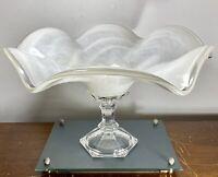 """Murano Lavorazione Italy Art Glass Centerpiece Bowl White Cloud Ruffled 15.5"""""""