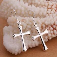 925 Sterling Silver Christian Jesus Christ Cross Catholic Crucifix Hook Earrings