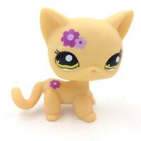 Littlest Pet Shop Yellow Short Hair Cat LPS Toys Purple Flower Green Eyes 1962