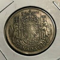 1939 CANADA SILVER 50 CENTS NICE HALF DOLLAR
