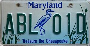 Maryland Treasure The Chesapeake American License Licence Number Plate ABL 01D