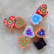 8 Perles FIMO POLYMÈRE - PETIT CŒUR 1 - Multi-couleurs - 4/6 mm - Trou 1/1,5 mm