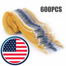 600 pcs 30 Values 1/4W Metal Film Resistors + Plastic Box Assortment Kit Set 1%