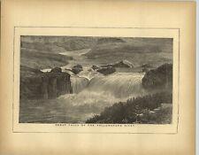 1883 Wood Engraving Great Falls Yellowstone River Sulphur Springs Wyoming