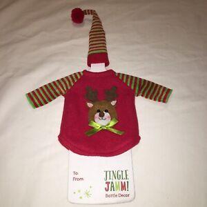 Sylvestri Christmas Wine Bottle Gift Decor NEW 2 PcFelt Jingle Jamm