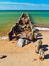 Photographie paysage marin plage brise-lames ruine sable mer ciel art print poster MP3525B