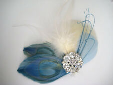 Wedding Ivory Blue Peacock Feather Fascinator Rhinestone Hair Clip