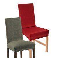 2 er Set Stuhlhussen Stuhlbezug Stuhlüberzug Stretchhussen grau rot Schwingstuhl