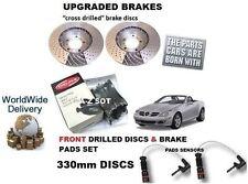 FOR MERCEDES SLK350 3.5 2005-> FRONT DRILLED BRAKE DISC SET & PAD KIT+ SENSOR