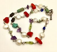 Vintage 925 Sterling Silver Amethyst Turquoise Pearl Coral Multi Stone Necklace