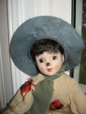 "House of Lloyd SAMMY SCARECROW 11"" Porcelain DOLL face hands HARVEST PATCH BOY"