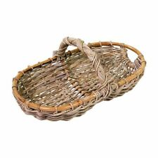 Grey Rattan Garden Trug Flower Basket Allotment Veg Wedding High End Gifting