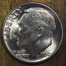 1950 D Roosevelt Dime Ch Bu Luster! 90% Silver Us Coin From Obw Roll