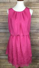 London Times Size 10 Pink Dress Layered Detailing Floral Cutouts Cinched Waist