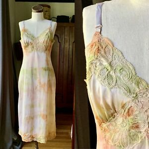 DYED PETALS Vintage Botanically Hand Dyed Tie Dyed Slip Dress S/M 34