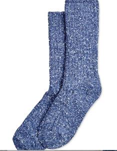 HUE Tweed Ribbed Boot Socks Denim Blue Ankle Temp Control NWT $8.50