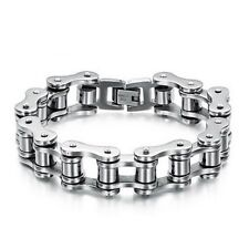Men's Titanium Steel Bicycle Bike Link Chain Design Silver Biker Bracelet UK