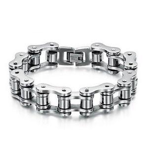 Mens Titanium Steel Bike Link Chain Design Silver Biker Bicycle Bracelet UK