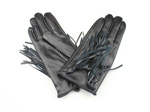 Black Faux Leather Womens Gloves With Leather Fringe