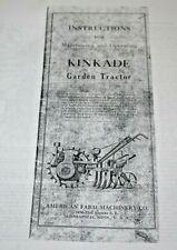 Copy of Vintage Manual for Kinkade Models K & L Garden Tractors, 46 pgs.