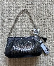 NWT COACH POPPY BLACK & SILVER SEQUIN OMBRE EMBELLISHED EVENING BAG PURSE
