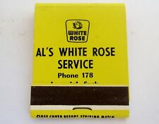 VINTAGE SCARCE UNSTRUCK MATCHBOOK WHITE ROSE OIL IMPERIAL SASK PHONE 178 YELLOW