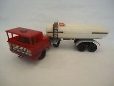 Vintage Poland Tin & Plastic Oil Fuel Tank Truck Trailer Toy