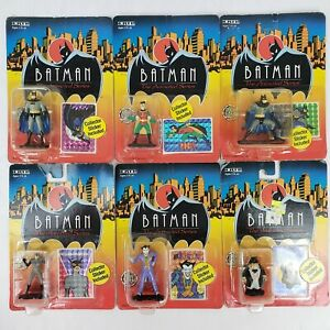 RARE NEVER HUNG Batman Animated Series COMPLETE Set of 6! ERTL Die-Cast Metal