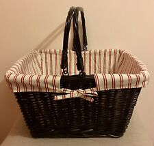 Beautiful Large Dark Wicker Basket Hamper With Handles, Fabric Lined, Christmas