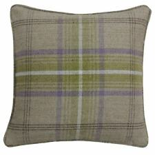 """TARTAN CHECK WOVEN WOOL LOOK GREEN PIPED 18"""" - 45CM CUSHION COVER"""