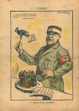 Caricature Politique anti-Nazi l'Ogre Baldur von Schirach 1938 ILLUSTRATION