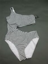 New Abercrombie & Fitch Size L Womens White Striped Padded One-Piece Swimsuit 2B