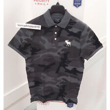 ABERCROMBIE & FITCH MENS EXPLODED ICON CAMO POLO SHIRTS BLACK CAMO SIZE LARGE