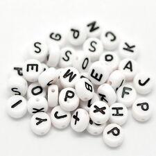 400 Mixte Perles Blanc Alphabet Lettre Acrylique Bijoux Création 7mm