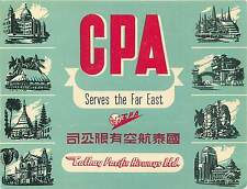 CHINA CATHAY PACIFIC AIRWAYS HONG KONG VINTAGE AIRLINE LUGGAGE LABEL