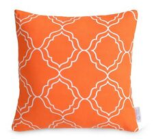 Orange Geometric Cushion Cover Bright Moroccan Lattice Pillow 100% Cotton 16""