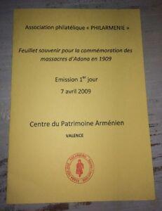 ARMÉNIE.FEUILLET PHILATÉLIQUE :  SOUVENIR DES MASSACRES D'ADANA EN 1909.