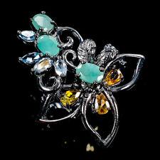 Vintage Natural Emerald 925 Sterling Silver Ring Size 8.25/R108472