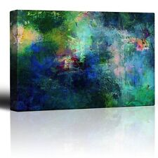 Soothing and Vibrant Blue and Green Splotches of Paint - Canvas Wall Art - 12x18